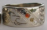 Channel Medicine Wheel Rings - ChSt9d - Medicine Wheel and eagle head Channel with Black diamond, , Citrine, Carnelian and diamond