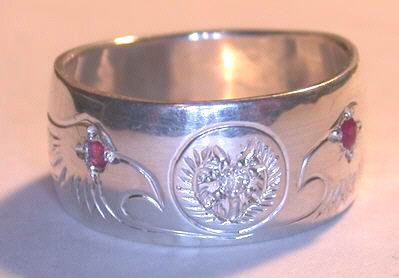 Cherokee Rings - CHr7a - Engraved Cherokee symbol with Eagle heads and Ruby Eyes
