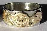 Cherokee Rings - CHr3 - Cherokee Symbol and Eagle heads in Gold on platinum with .02ct eyes