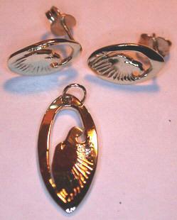 Stud Earrings - ERn12 - Oval Eagle- Stud Earrings and Pendant