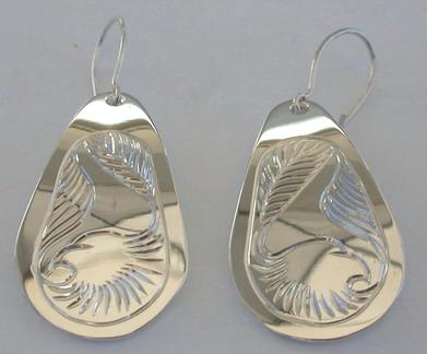 Tear Drop Earrings - ERn27 - Eagle Heads teardrop earrings with shepherd hooks