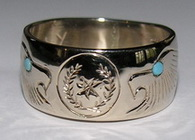 Cherokee Rings - CHr7a - Engraved Cherokee symbol with Eagle heads and Turquoise Eyes in 14k yellow gold