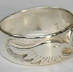 Wedding Rings - CHr3 - Cherokee Symbol and Eagle heads in Silver on silver