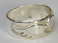 Cherokee Rings - CHr3 - Cherokee Symbol and Eagle heads in Silver on silver