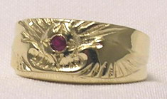 Cast Bird Feather Rings - RCas5g - with mm Ruby in yellow gold