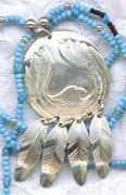 Appliqued Pendants - PenF3 eagle and 4 feathers with turquoise beads, appliqued in silver