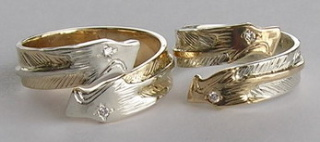 Gold Bird Feathers Stones Rings - Bird Feather Gem Stone Rings