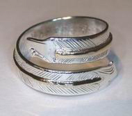 Appliquéd Bird Feather Ring - RApF15 - Gold on silver eagle head wrap around