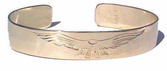 """Gold Bracelets - BG5 - 1/2"""" Falcon Bracelet cuff in 14k yellow gold"""