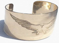 "Gold Bracelets - BG4 - 1"" Landing Falcon in 14k gold 1.5"" wide band cuff"