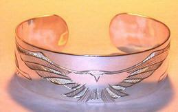 """Feathers-Birds-Bracelets - BFB26 - Hawk Landing - silver 3/4"""" wide cuff bracelet"""