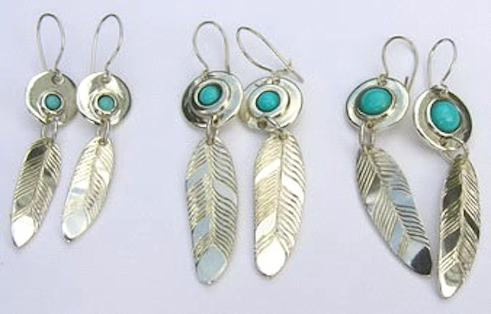 Dangly Earrings - ERn32- 8mm turquoise cabs on disc and feathers , then 3mm, 5mm and 7mm.