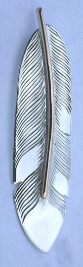 Feather Pendants - PenF9 gold stem on silver large feather pendant