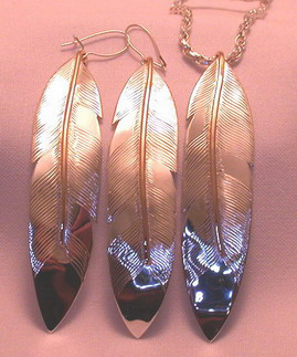 "Feather Pendants - PenF12a (pendant) and PenF6a and b, (earrings) - 3"" long gold on silver"