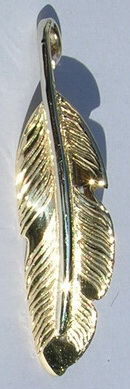 Feather Pendants - PenF14c- white gold stem on yellow feather