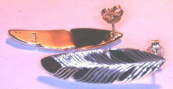 Feather Earrings - ERn18b - 14k white studs