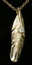 PenC23 - cast Feather - with .08ct Diamond in 14k gold