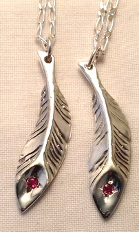 Feather Pendants - PenC23 - Feathers - cast with a 2.5mm ruby in tip