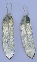 "Feather Earrings - ERn18f - 2"" Silver on silver"