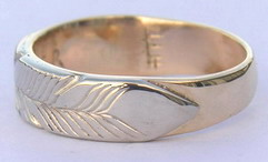 Appliquéd Bird Feather Ring - RApF5c,d and e with 'beads' and 'leather'. White on yellow gold