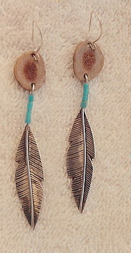 Our 1st Work - Feather earrings - Deer Horn and Turquoise