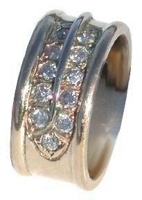 Cast Bird Feather Rings - RCas1 - Round edge Feather ring with white gold stem and 11- .04ct diamonds