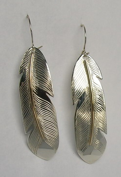 "Feather Earrings - ERn1 gold on silver - 2"" with sheppards hooks"