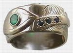 Wedding Rings - RApF4 - Gold Stem on Gold Feather - Emerald and Sapphires.