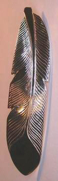 "Feather Pendants - PenF10c- , 2"" Large feather with back bail in silver or gold"