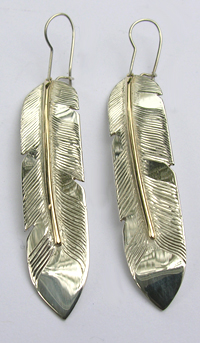"Feather Earrings - ERn1c - a bit squarish , like a Blue Jay feather - gold on silver - 2"" with sheppards hooks"