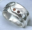 Wedding Rings - RApF4 - silver on silver Feather - Onyx citrine coral and diamond