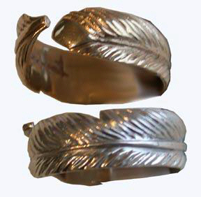 Cast Bird Feather Rings - RCas9 - Feather Wrap-around Ring