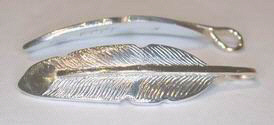 "Feather Pendants - PenF14a silver on silver feather 1-1/4"" long"