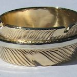 Wedding Rings - RApF8 - Gold Stem on Gold Feather