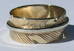 Appliquéd Bird Feather Ring - RApF8 - Gold Stem on Gold Feather