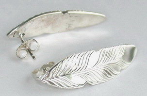 Feather Earrings - ERn18b - 14k white studs