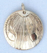 Round Pendants - PenR7 - Eagle Feather and sun burst in gold