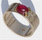 Wedding Rings - RbfSt9 - Single feathers with Ruby Cabachon