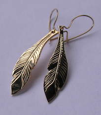 Feather Earrings silver gold studs shepherds hooks