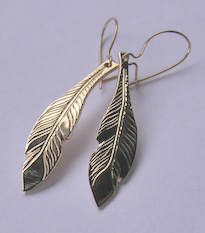 Bearclaw custom native jewelry feather earrings 14k gold Custom