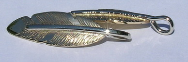 Feather Pendants - PenF14d- white gold stem on yellow feather