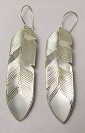 "Feather Earrings - ERn18f - 2"" Silver"