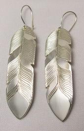 """Feather Earrings - ERn18f - 2"""" Silver"""