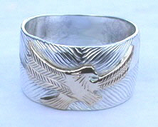 Appliquéd Rings - Rap17 - Eagle Landing applique gold on silver