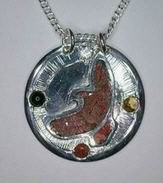 Medicine Wheel Pendants -PenSt16 - Flying Hawk in silver on silver with Coral, Diamond, Citrine,and Onyx