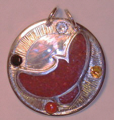 Appliqued Pendants - PenAp15 - Flying Hawk in silver on silver with Coral, Diamond, Citrine,and Onyx