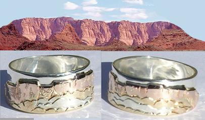 Mountain Rings - Multi-metals golds rose yellow white silver platinum alternating ring