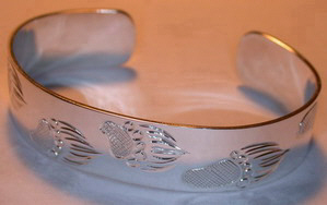 "Silver Bracelets - BS7 -Walking Grizzly 1/2"" silver cuff"
