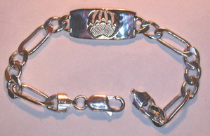 BA15 Single Grizzly paw appliqué Medical Bracelet with Figaro chain