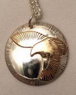 Round Pendants - PenAp16 - Appliqued Hawk gold on silver
